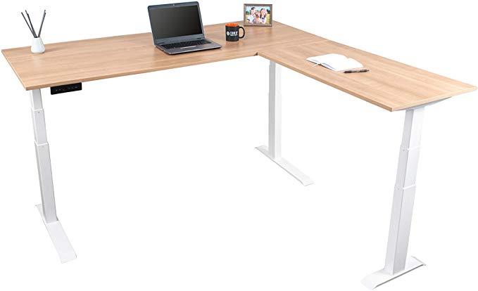 Amazon Com Triple Motor Electric L Shaped Desk Standing Desk With Ez Assemble Frame Assembles In Minutes Extra Weight Cap In 2020 L Shaped Desk Standing Desk Desk