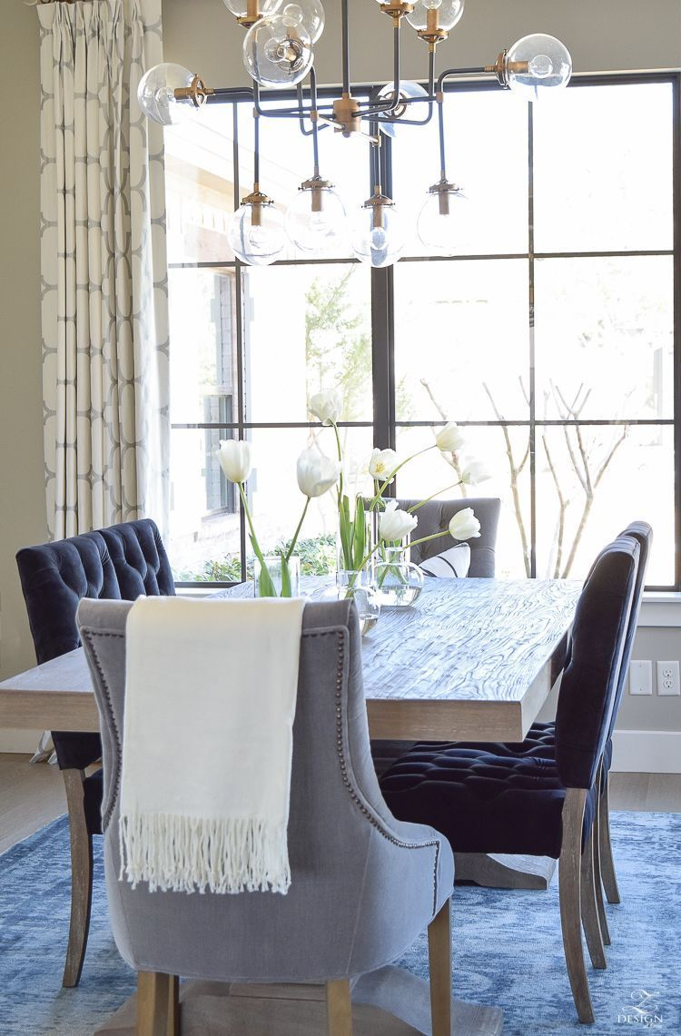 Spring tour transitional dining room tulips on table velvet dining chairs kravet riad drapes 2