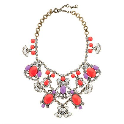 J.Crew Crystal color stone statement necklace