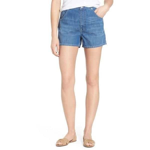 Madewell Cotton Denim Shorts (£48) ❤ liked on Polyvore featuring shorts, drew, madewell shorts, zipper pocket shorts and madewell