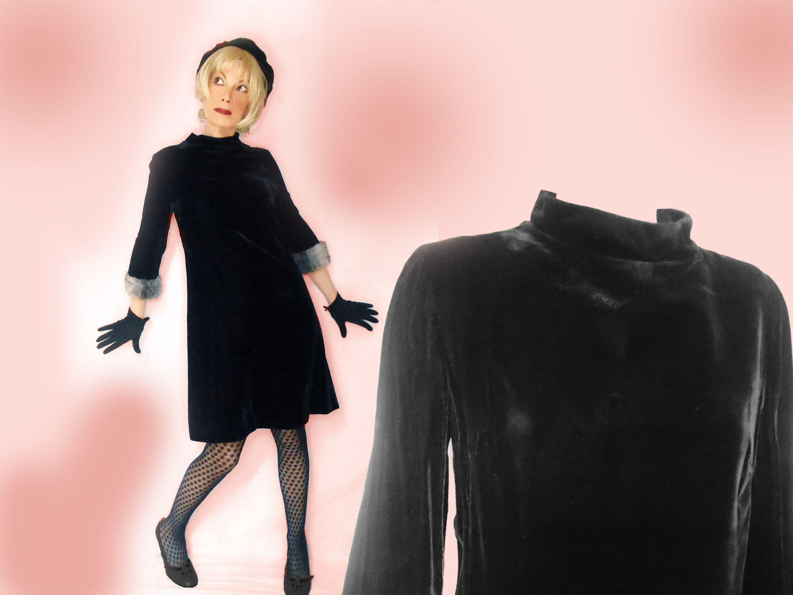 60s Vintage Mod Dress Black Velvet A Line With Sleeves Faux Fur Cuffs Little Black Dress Minimalist Fall Winter Fashion Womens Medium Vintage Mod Dress Mod Dress Fashion [ 1944 x 2592 Pixel ]