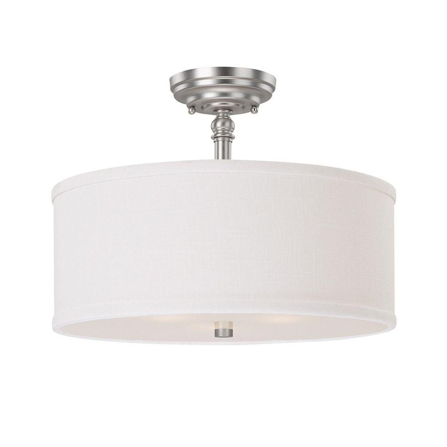 15 In W Century Matte Nickel Fabric Semi Flush Mount Ceiling Light At