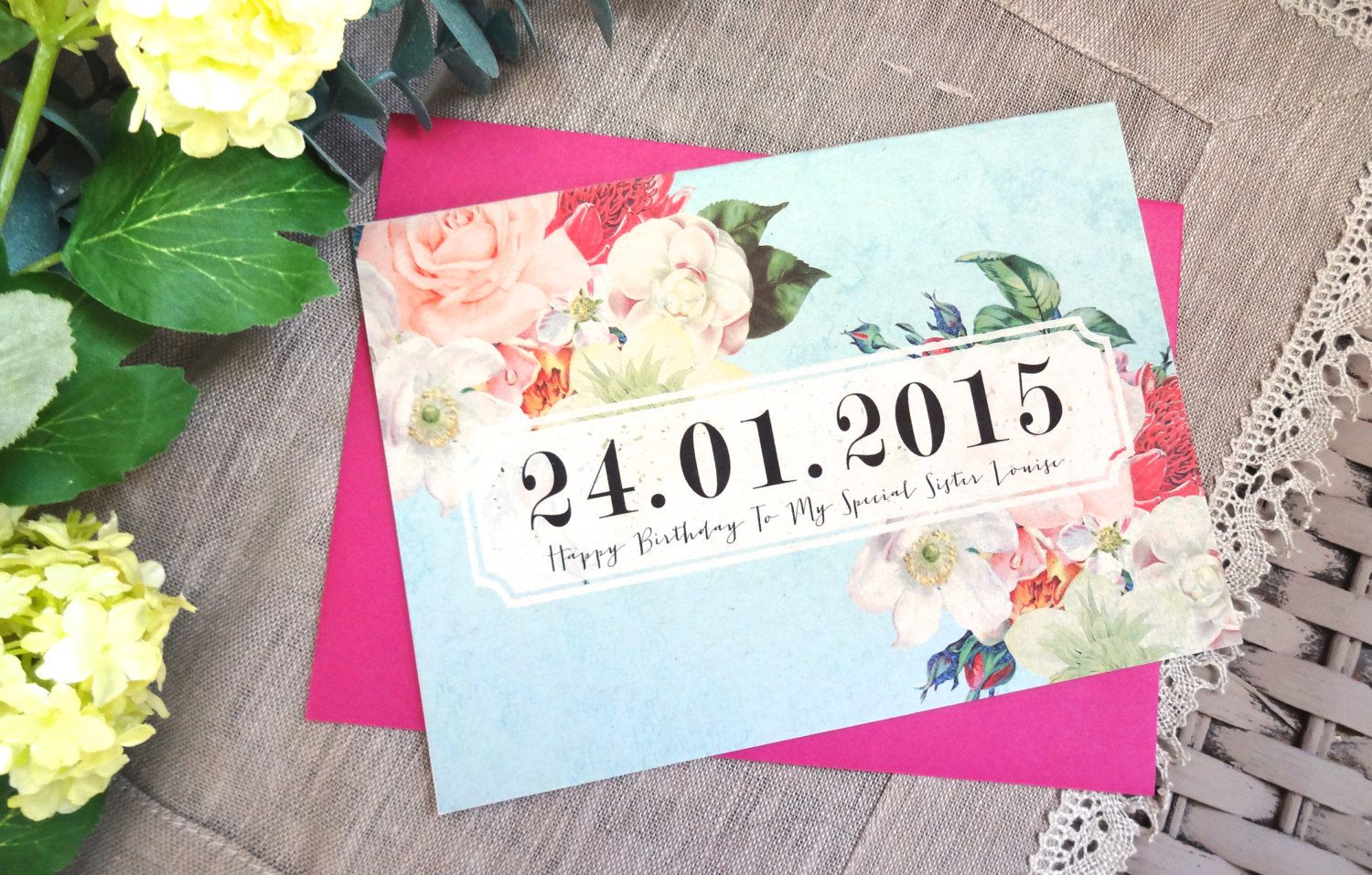 Happy birthday card 5 x 7 with envelope personalised