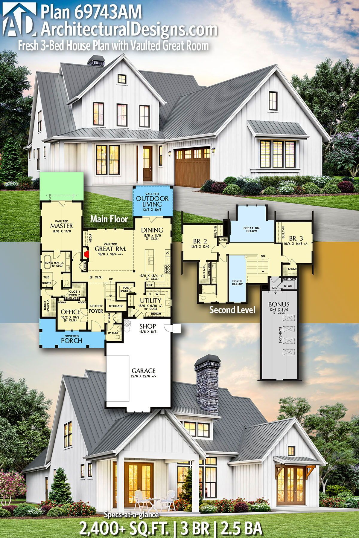 Plan 69743am Fresh 3 Bed House Plan With Vaulted Great Room Architectural Design House Plans House Plans House Design