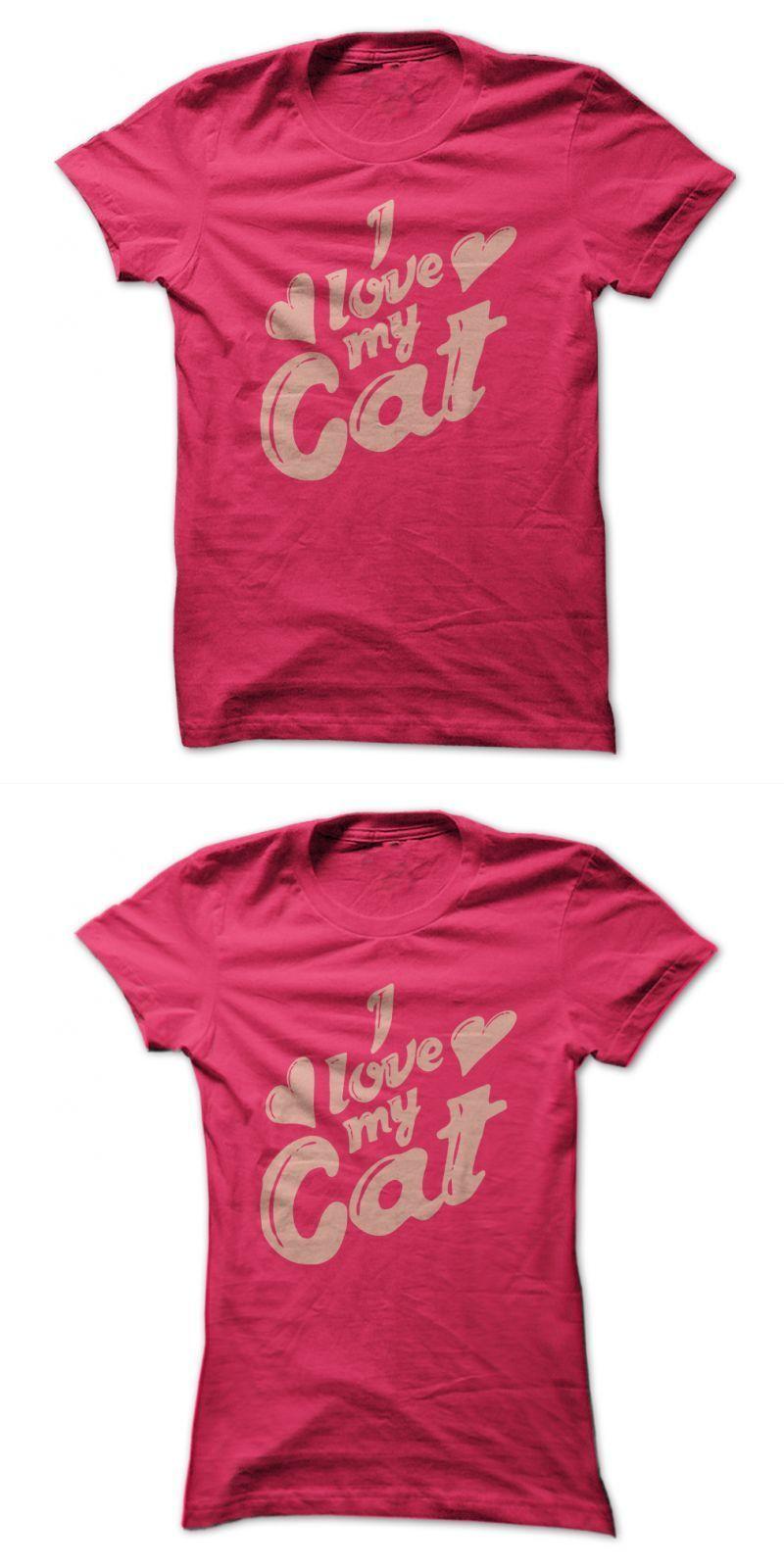 Cat Tshirt Crown I Love My Cat (light Pink) 80s cat