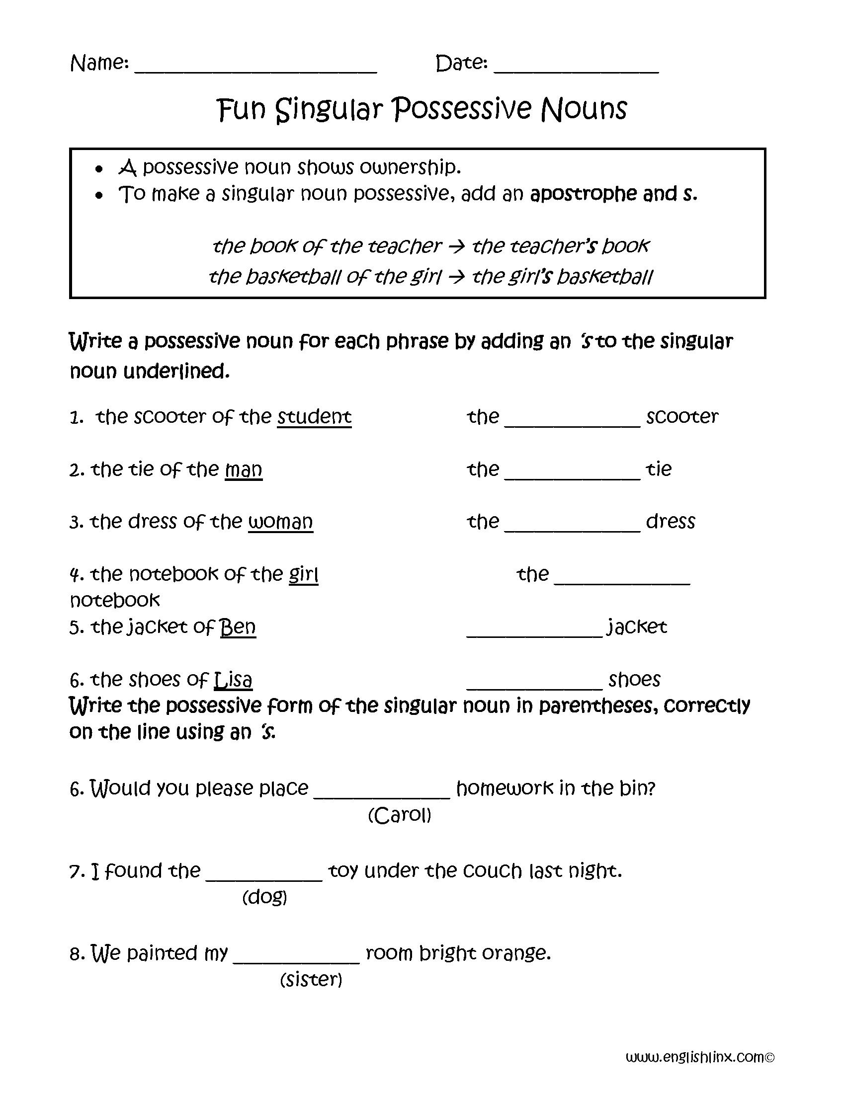 Worksheets Fun Grammar Worksheets fun singular possessive nouns worksheets worksheets