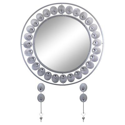 Latitude Run Elegant Bejeweled Round Accent Wall Mirror