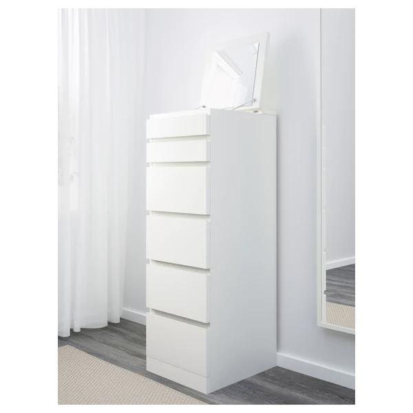 Malm White Mirror Glass Chest Of 6 Drawers 40x123 Cm Ikea En 2020 Commode 6 Tiroirs Malm Ikea Malm