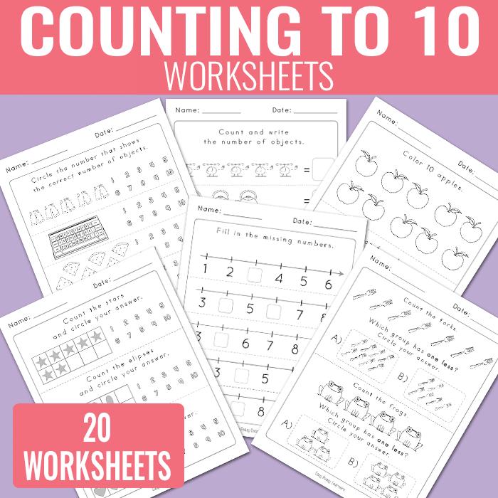 Counting to 10 Worksheets – Kindergarten Math Worksheets ...