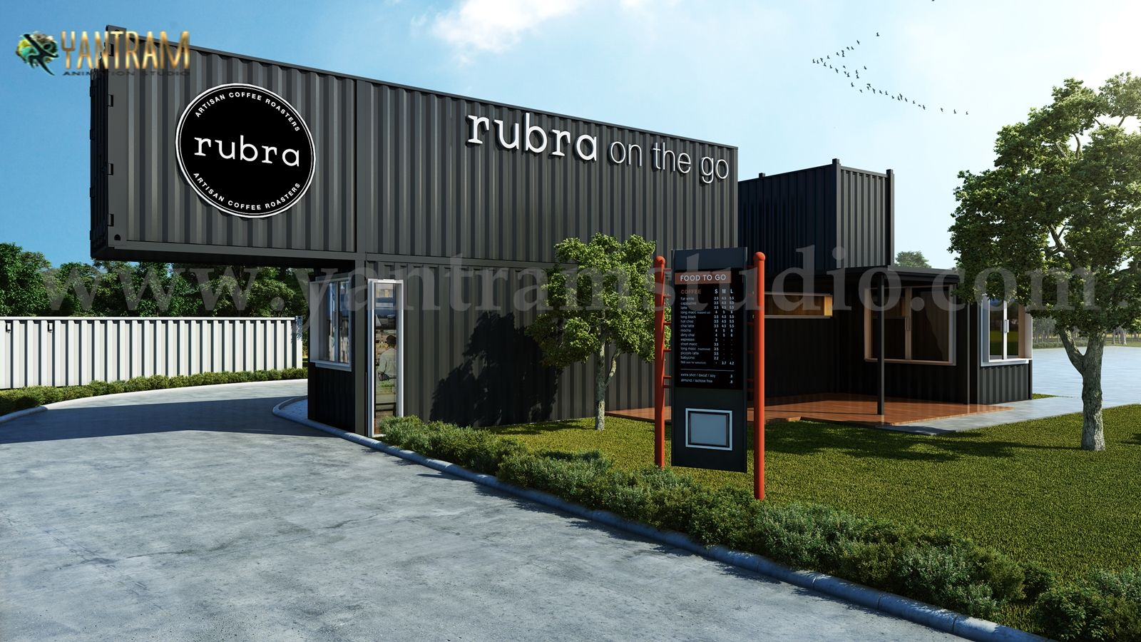 , Rubra Coffee Shop 3D Exterior Design by Yantram Architectural Visualization Studio –  New York – USA, Hot Models Blog 2020, Hot Models Blog 2020