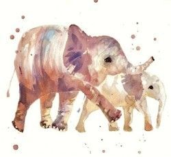 water color elephants i will do this :) they are so cute