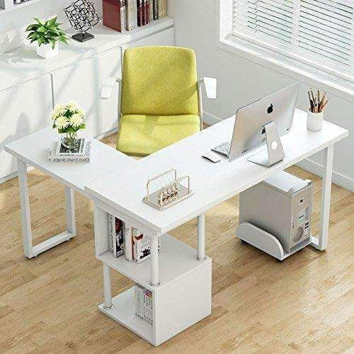 Tribesigns Modern L Shaped Desk 360 176 Free Rotating Corner Computer Desk Writing Desk Table With
