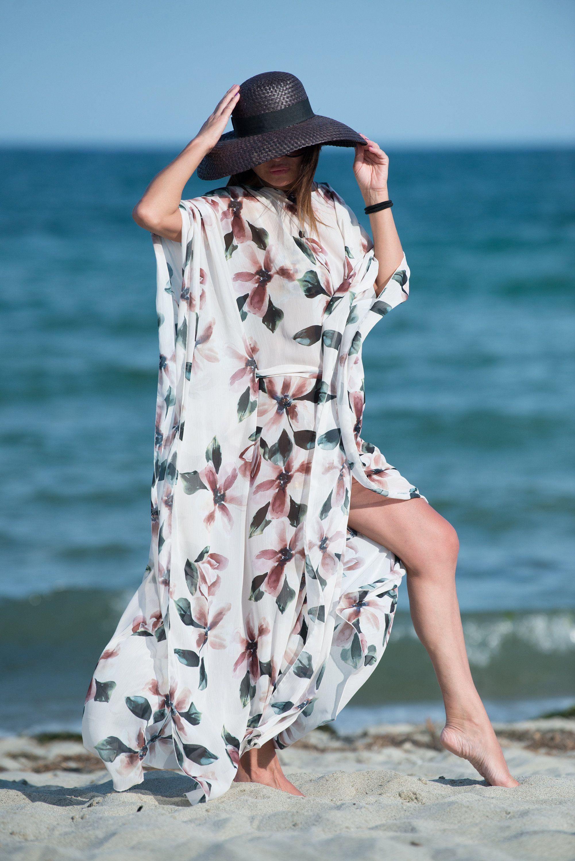Woman White Flowers Summer Dress Beach Pareo Maxi Kaftan Eug Fashion Chic Summer Dresses Summer Maxi Dress [ 3000 x 2002 Pixel ]