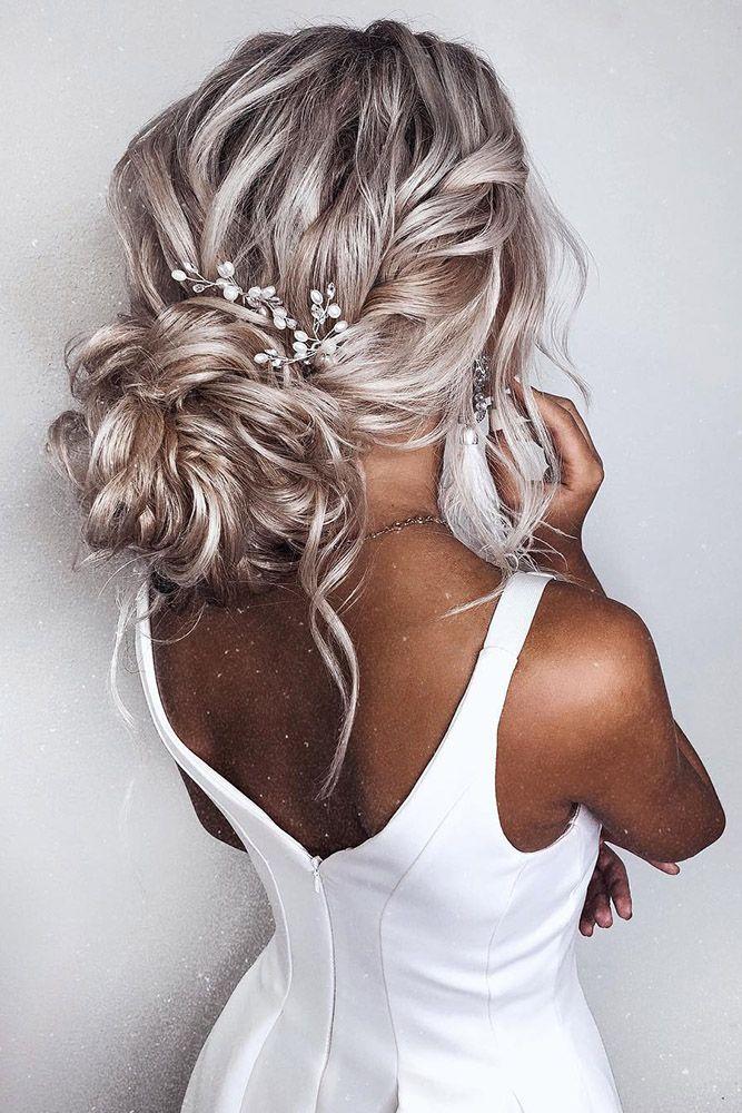 romantic bridal updos wedding hairstyles volume textured low bun with side braid kristina_fedorova_brand