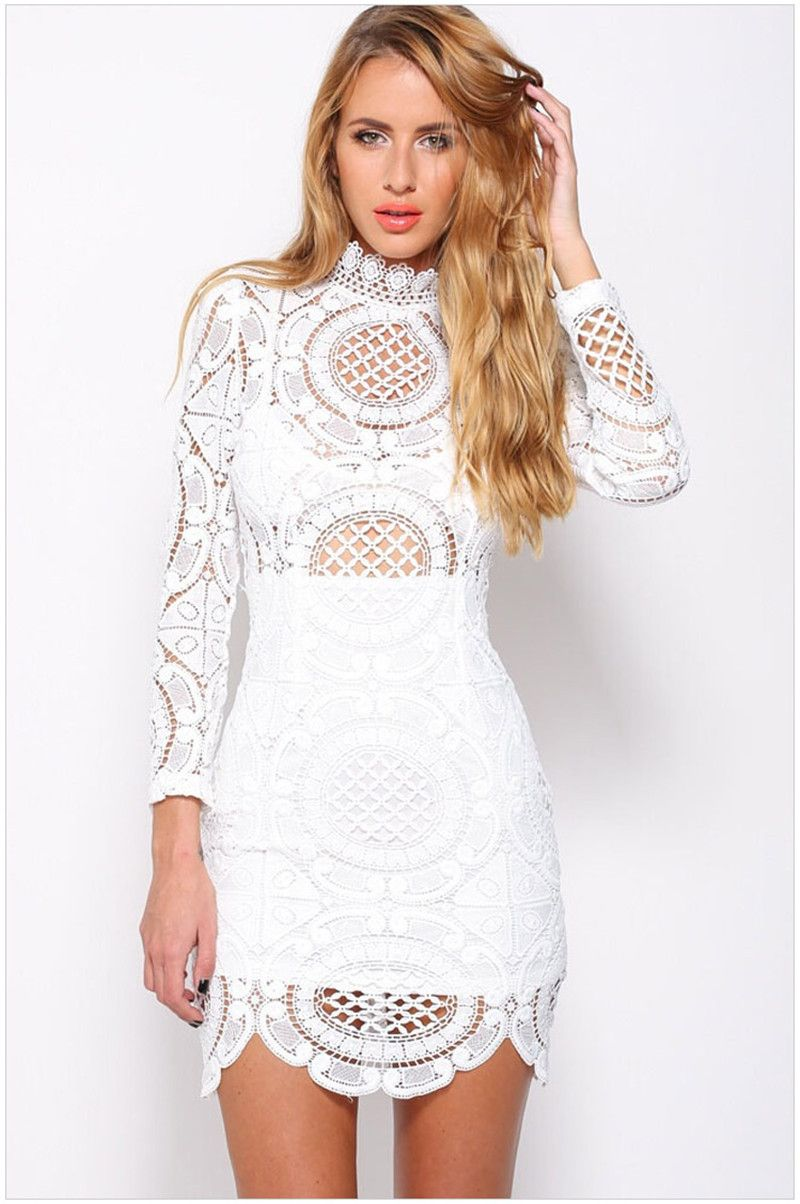 White Crochet Lace High Neck Semi Sheer Long Sleeve Summer Dress ...