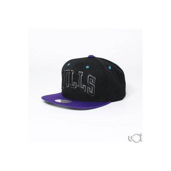MITCHELL NESS BULLS WORD JORDAN GRAPE 5 RELEASE BULLS CHICAGO hat cap... ❤ liked on Polyvore featuring hats