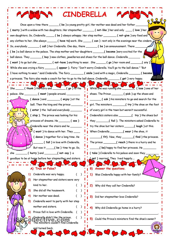 Workbooks simple reading worksheets : CINDERELLA/PAST SIMPLE/READING | ELT: Grammar | Pinterest ...
