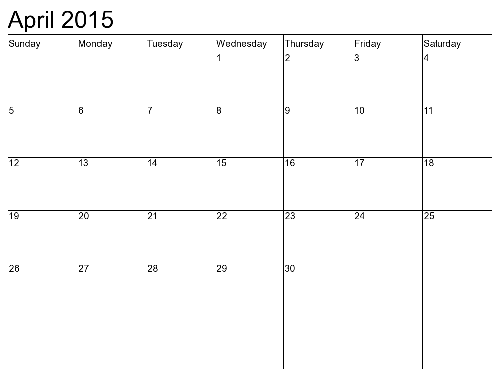 calendar april 2015 template