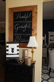 #falldecorations #chalkboard #tablescape My 27 Cents Worth: Inexpensive Overhaul of a Cheap Chalkboard