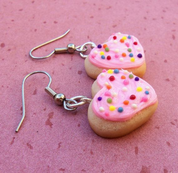pink heart sugar cookie earrings by ScrumptiousDoodle on Etsy, $14.25
