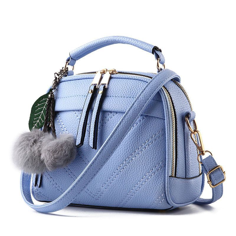 660d5e421d Women Crossbody Shoulder Bags Flap Casual Tote Plush Pendant Fur Ball  Messenger Top Handle bags Fashion Small Bag Sew Thread hot