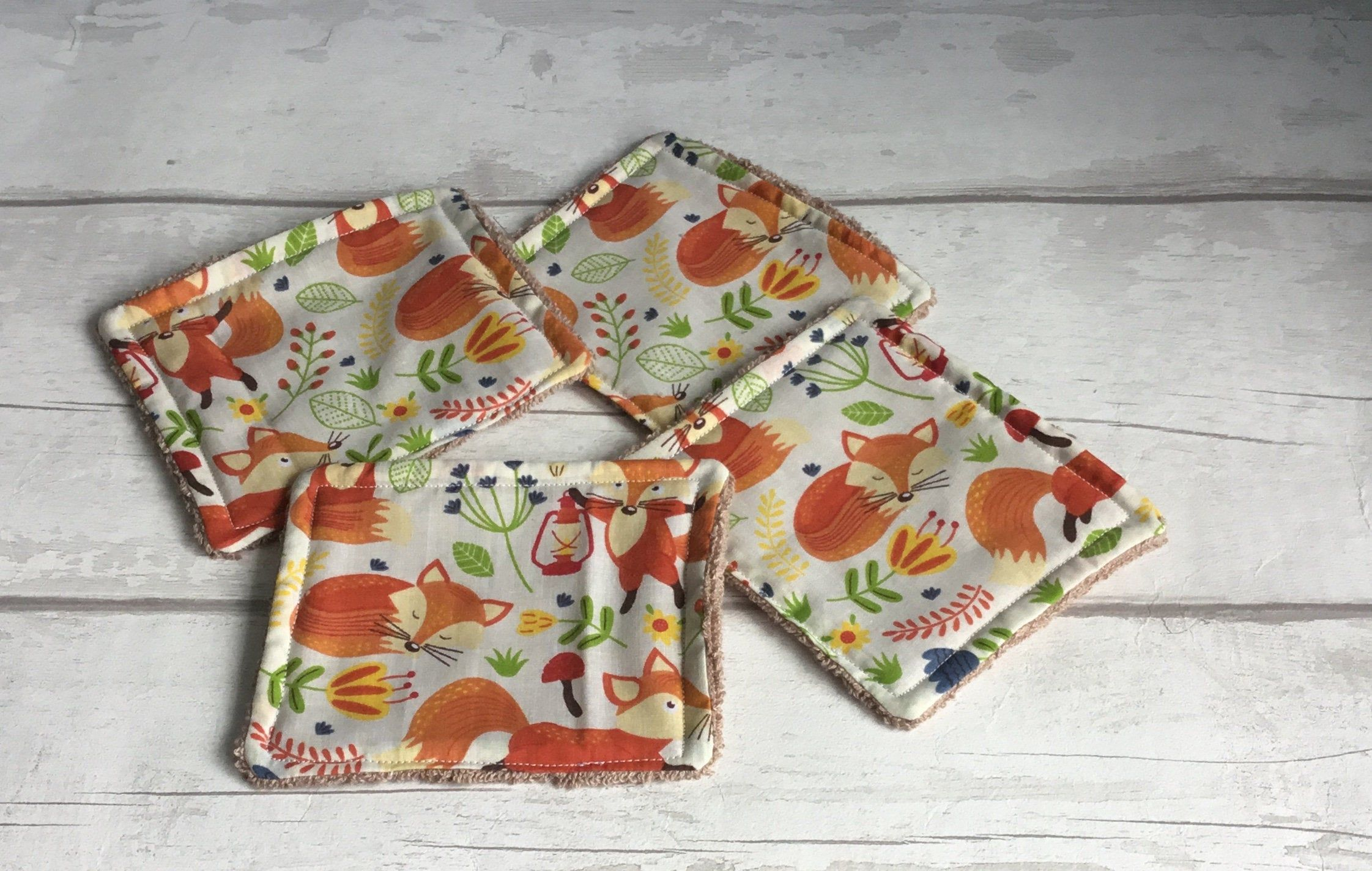 Reusable face wipes for baby, Fox gift, kids wash cloths