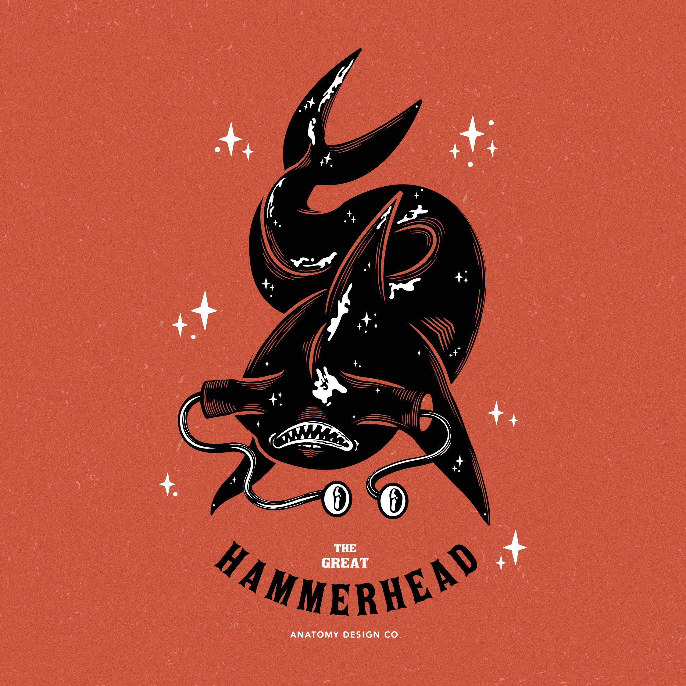 Graphic design and illustration - retro hammerhead shark for apparel ...