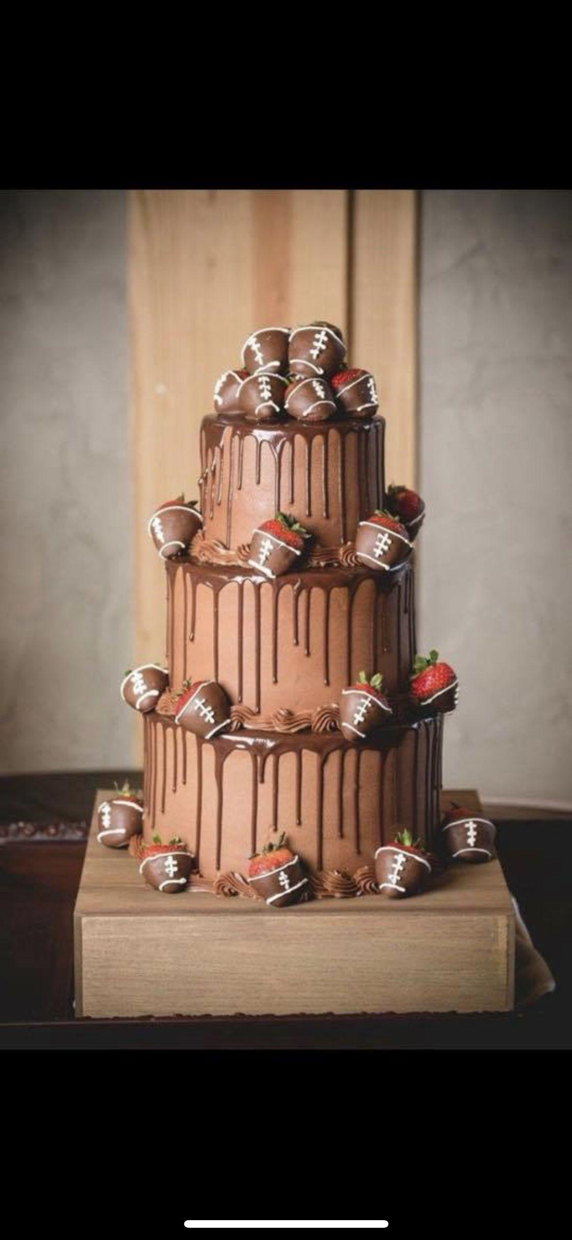 Chocolate Grooms Cake Ideas Ganache Drizzle Grooms Cake Football