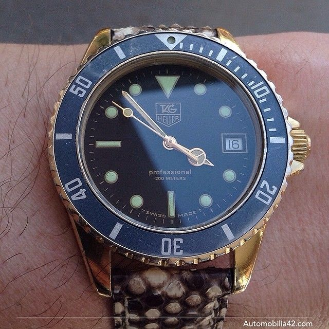 TAG Heuer 1000 Submariner Man 18K gold plated with a black ...