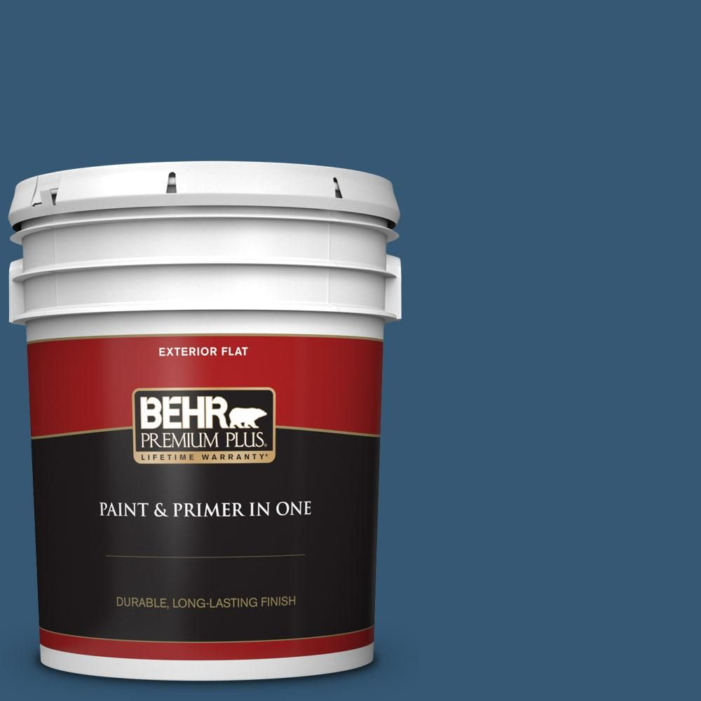 Behr Premium Plus 5 Gal M490 7 Shasta Lake Flat Exterior Paint And Primer In One Interior Paint Behr Exterior Paint