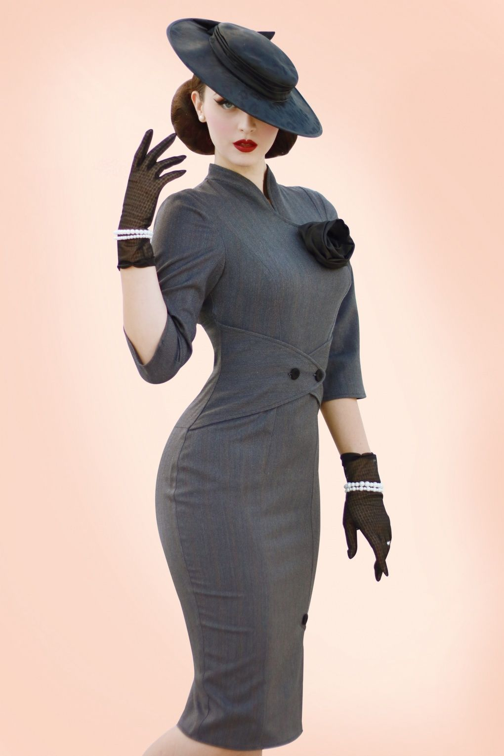 Photo of 50s Idda Herringbone Wiggle Dress in Grey