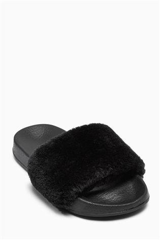 fa17ec16bb8a Buy Black Fluffy Sliders (Older Girls) from the Next UK online shop ...