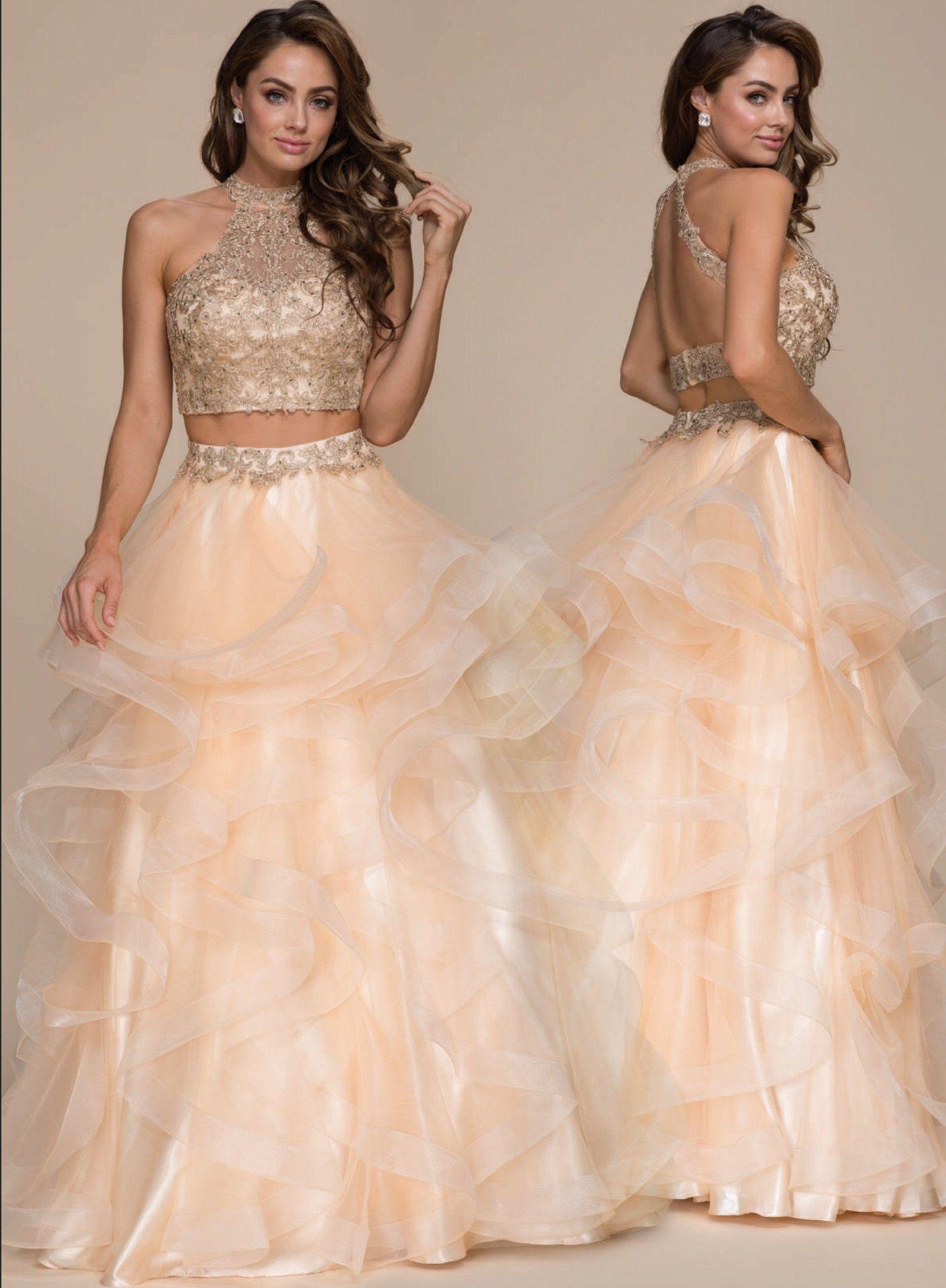 Gold 2Piece Detailed Bodice Formal Dress Formal dresses