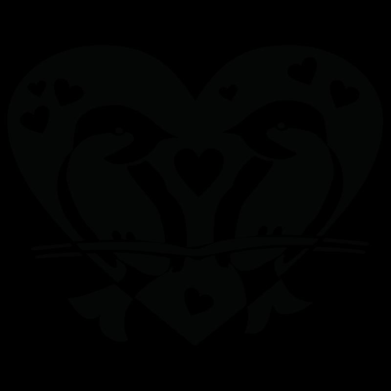 Väggdekor Hjärta och fåglar - klicka för att förstora