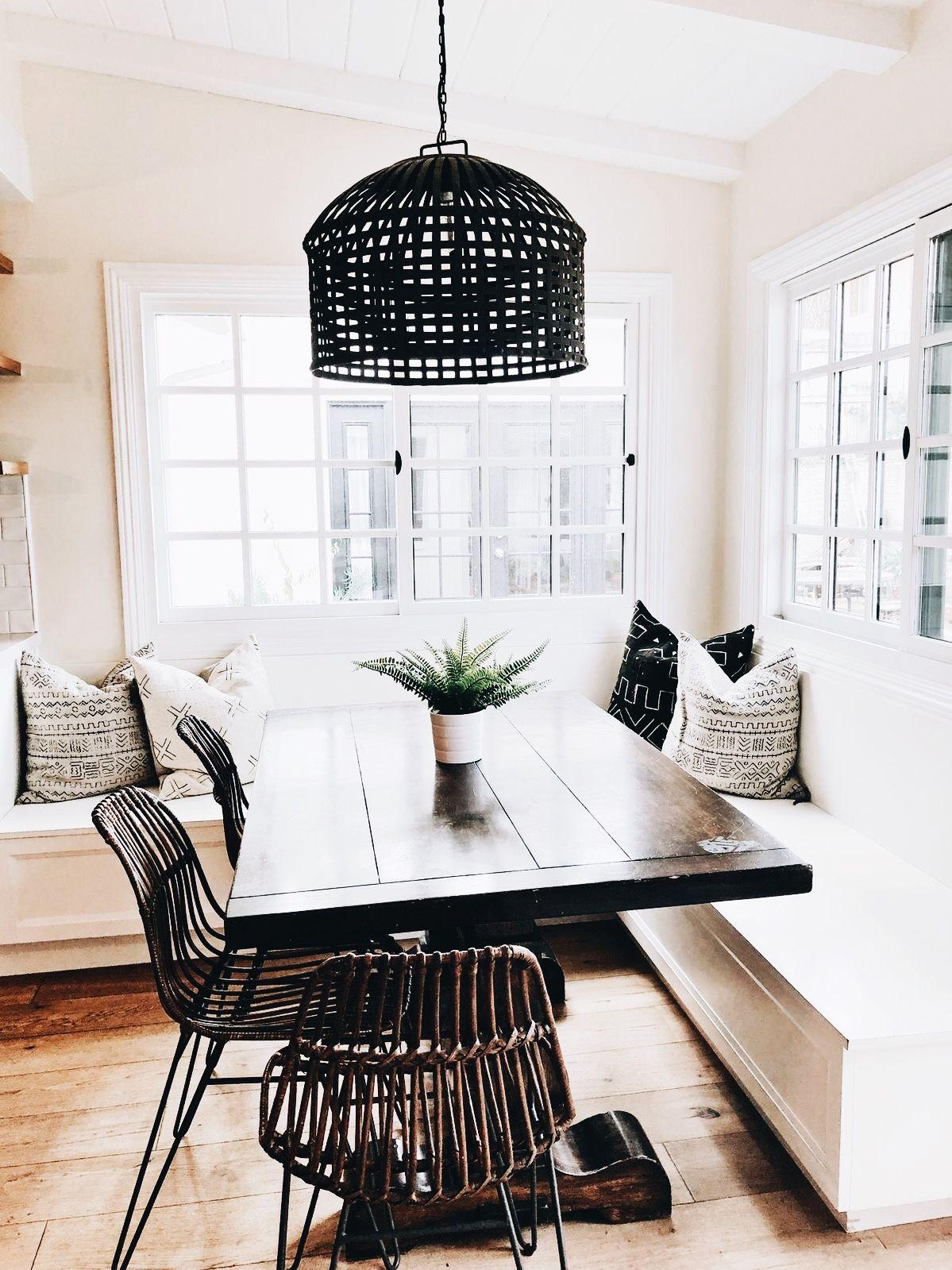 Built In Seating Breakfastnook Black Woven Basket Pendant Light
