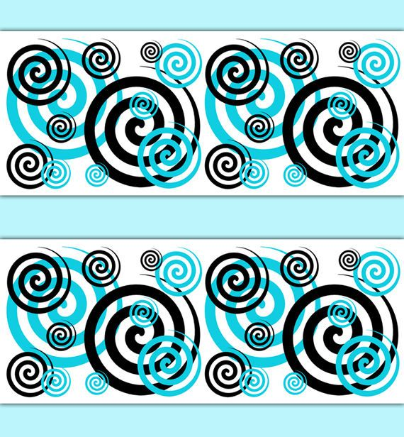 turquoise teal blue spiral swirl wallpaper border wall art on border wall id=24637