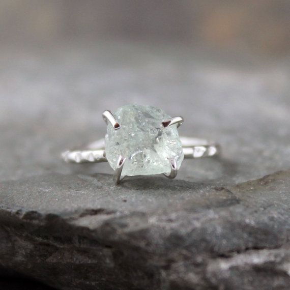 Aquamarine Sterling Silver Ring - Raw Uncut Rough Aquamarine - Handmade and Designed by A Second Time. $175.00, via Etsy.