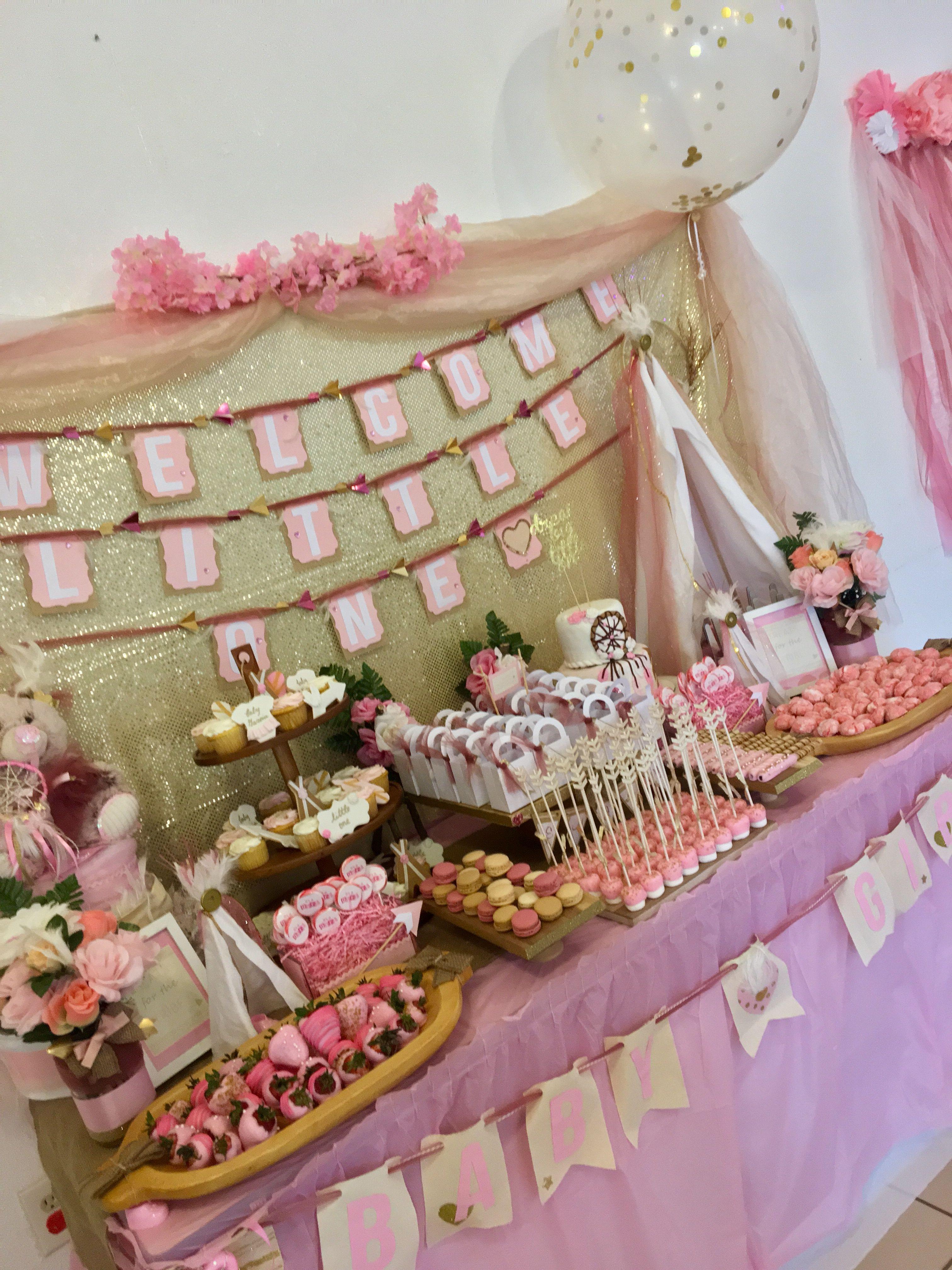 Boho Dreamcatcher Teepee Girl Baby Shower Dessert Table Baby