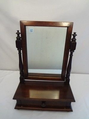 Antique Dresser Top Shaving Mirror Stand W Drawer Vanity