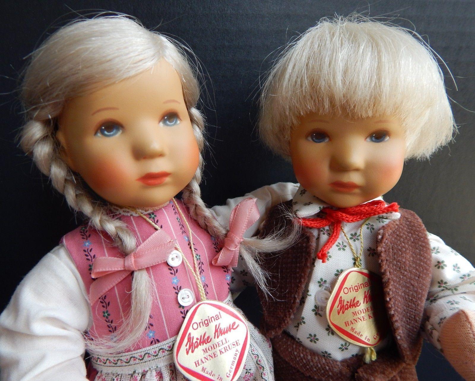 "Pair Kathe Kruse 10"" Hard Plastic Cloth Boy Girl Dolls EUC | eBay"