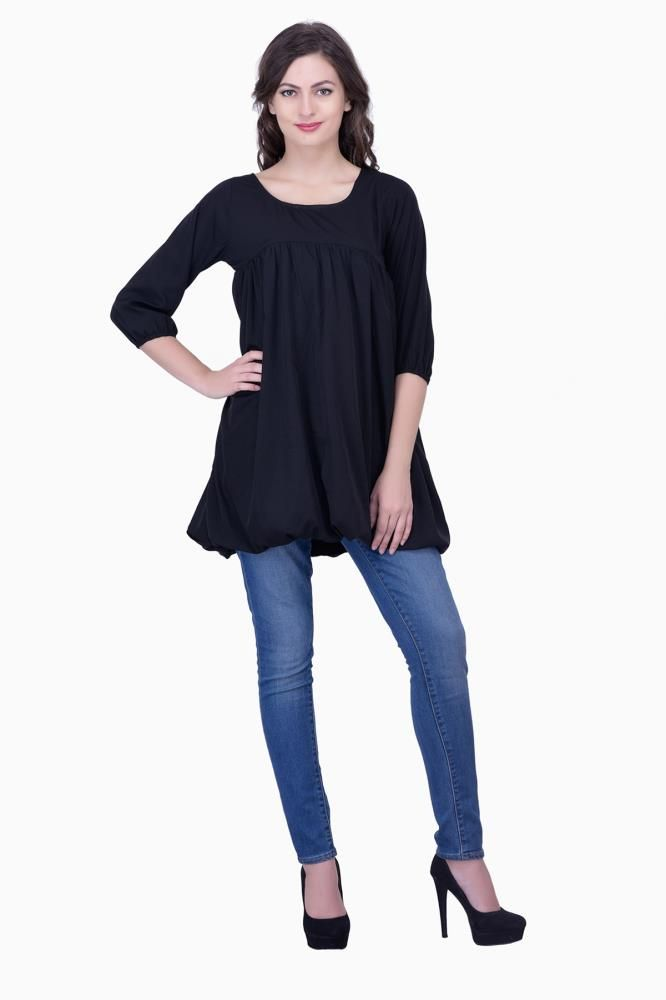 6ff70e36ba7 Buy Black Solid Women Party wear office wear Casual Tunic Tops Tunics for  Women Online India, Best Prices