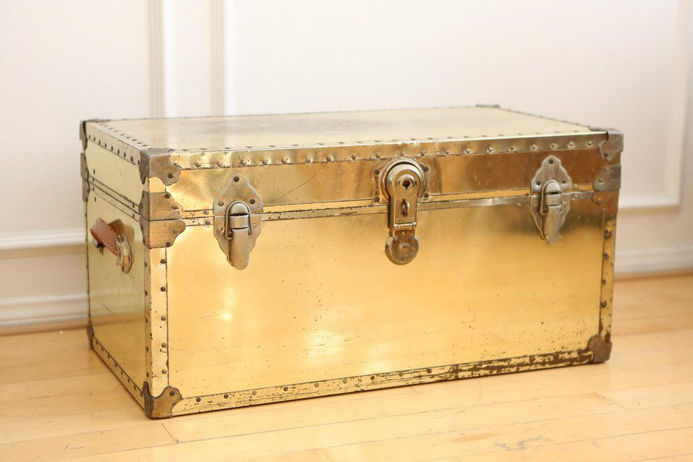 vintage brass metal trunk coffee table