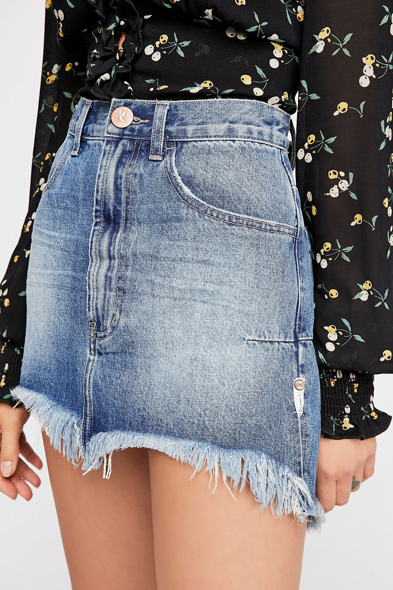 6e0906418 Free People Oneteaspoon Vanguard Mid-Rise Relaxed Skirt - Pacifica ...