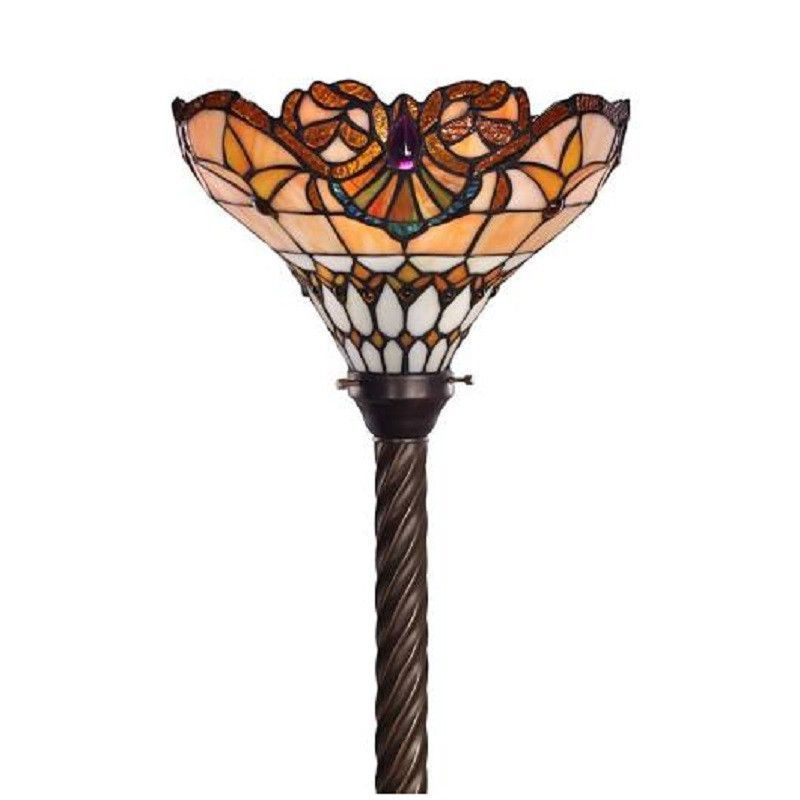 Tiffany Style Barouque Torchiere Stained Glass Floor Lamp
