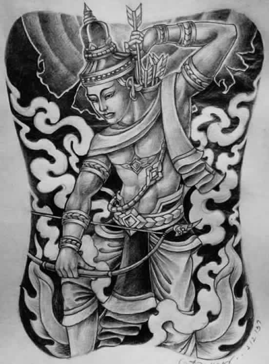 Beautiful southeast asian tattoo art illustration for Laos tattoo designs
