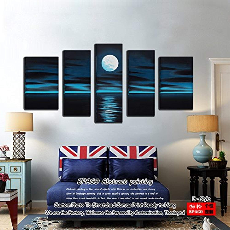 Bpago blue moon skyline wall art canvas paintings landscape sea