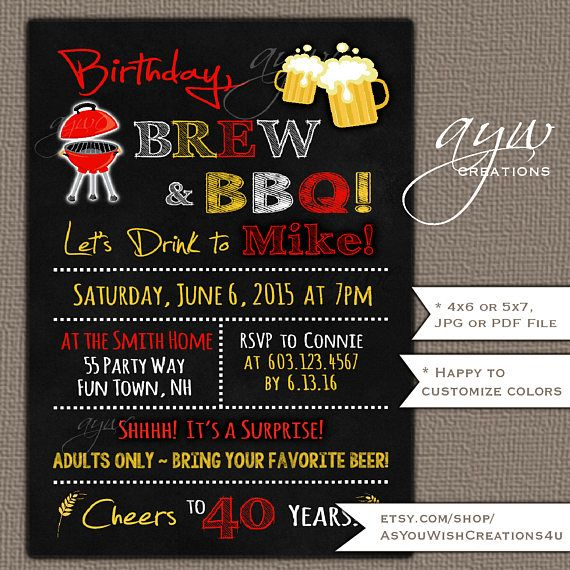 40th birthday party invitation for men s birthday party with cheers