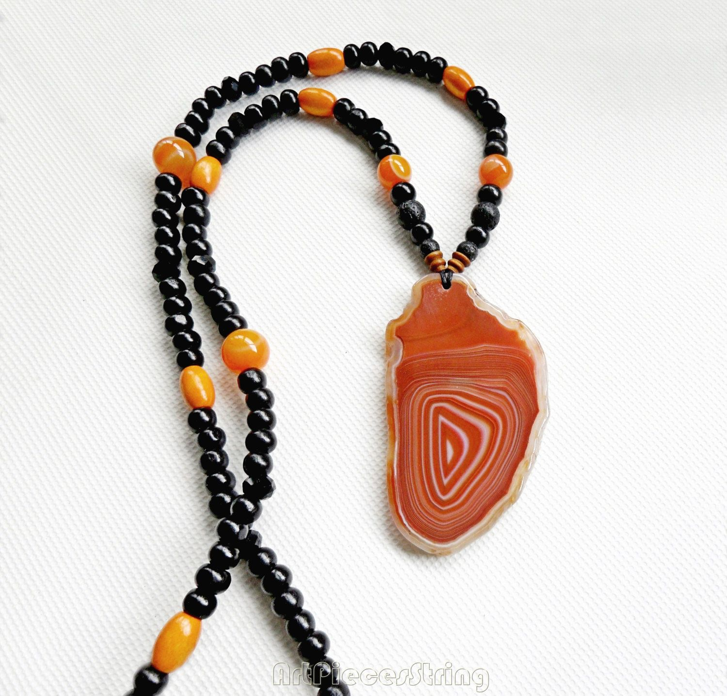 Spiral agate necklace beads, maze agate necklace orange slice, agate balls string long necklace, black orange agate two views sides choker, by ArtPiecesString on Etsy