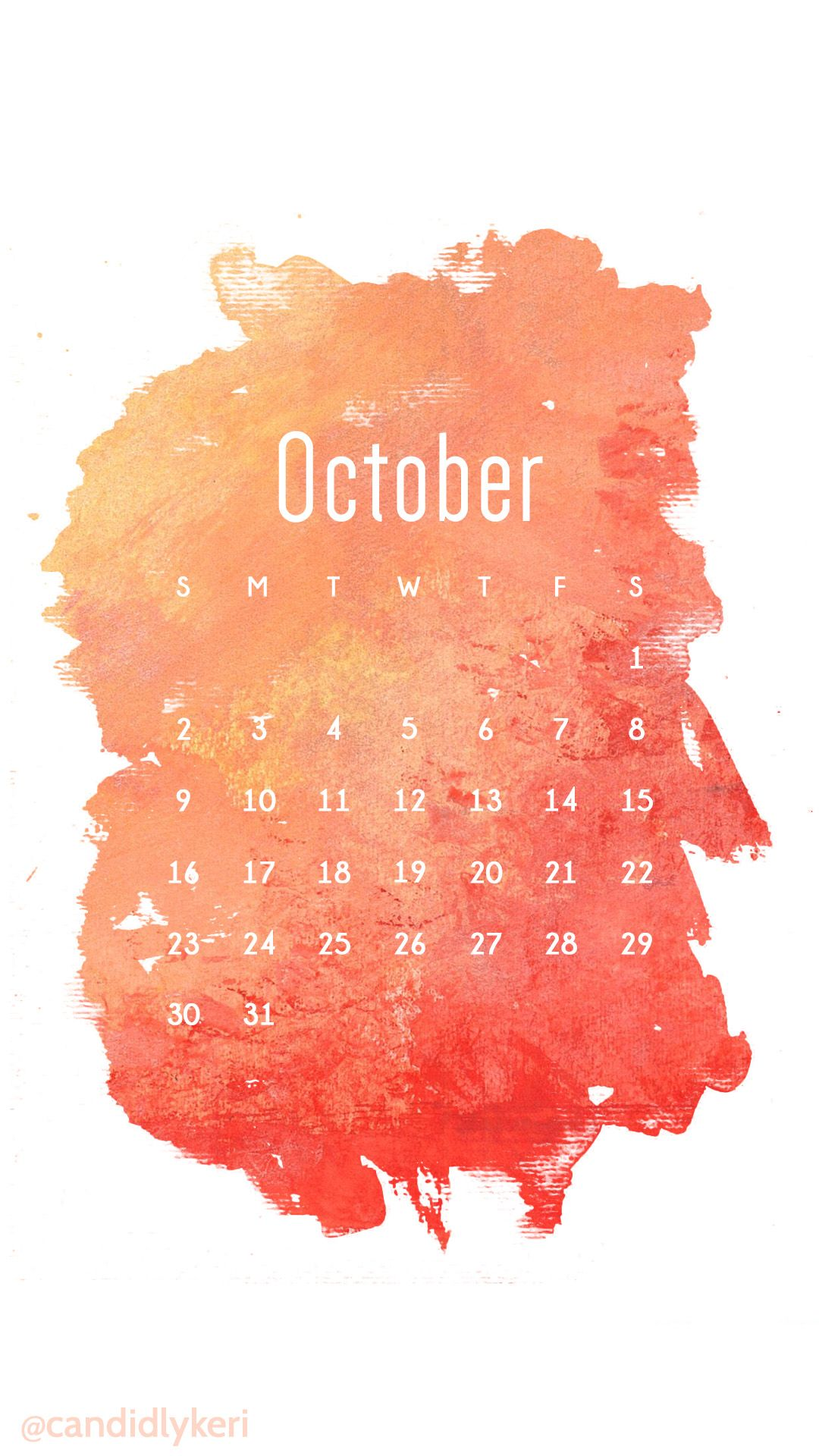 Watercolor Red Orange October Calendar 2016 Wallpaper You Can Download For  Fr.