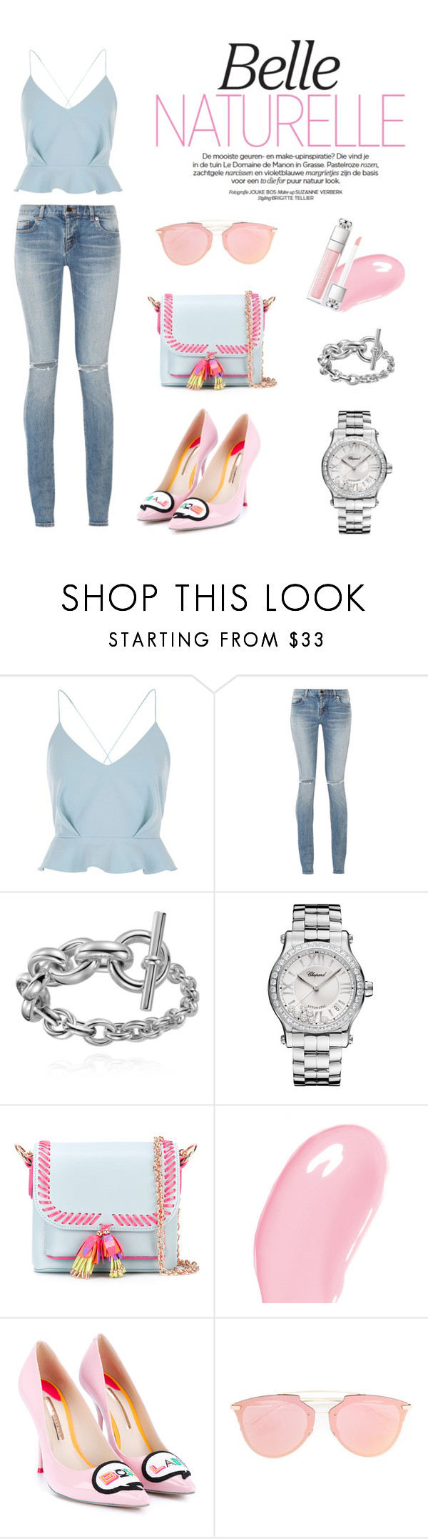 """""""My day time outfit"""" by hongy-nguyen on Polyvore featuring River Island, Yves Saint Laurent, Chopard, Sophia Webster, Christian Dior, pastel, sophiawebster and daytimeoutfit"""